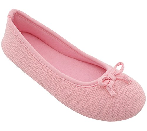 ULTRAIDEAS Womens Comfort Memory Foam Ballerina Slippers Breathable Knitted & Stretchable Terry Lining Slippers Anti-Skid House Indoor Shoes Pink 0TV7quH8o