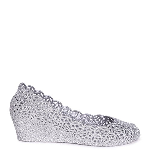 Wedged Michelle Silver Toe Sandal Linzi Peep Glitter Silver tBSZwxxq