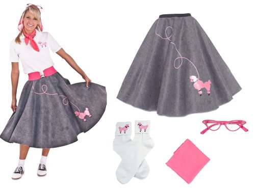 Homemade Halloween Costumes Ladies (Hip Hop 50s Shop Adult 4 Piece Poodle Skirt Costume Set Grey XLarge/XXLarge)