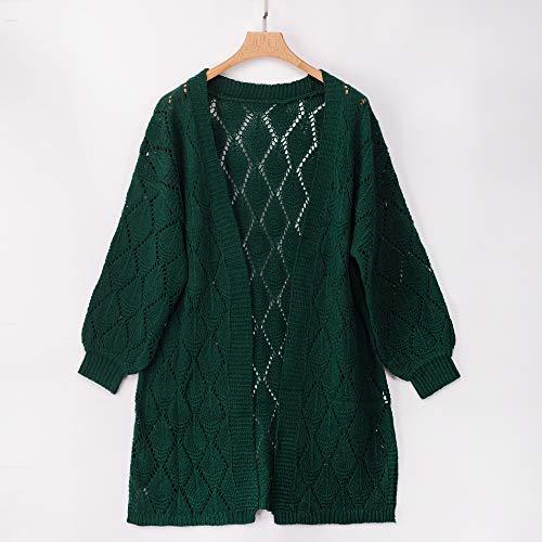 PRETTYGARDEN Women's Elegant Solid Open Front Lantern Long Sleeve Hollow Out Side Split Chunky Knitted Long Outwear Coat (Green, Small)