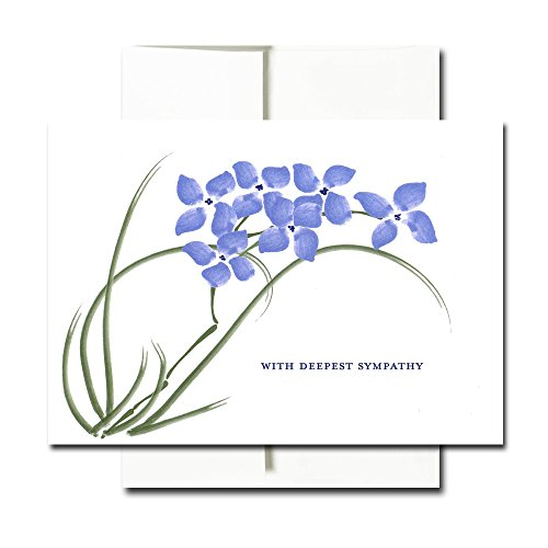 Sympathy Cards: Violets - Box of 30 Blank Note Cards and 32 Env Made in USA by CroninCards