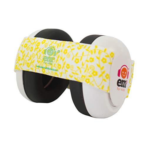 Ems for Kids Baby Earmuffs - White with Lemon Floral. Made in The U.S.A! The Original and ONLY Earmuffs Designed specifically for Babies Since 2009