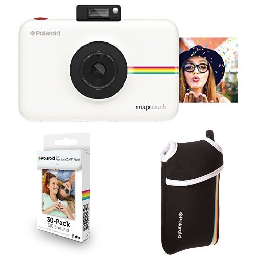 Price comparison product image Polaroid Snap Touch Instant Print Digital Camera With LCD Display (White) with Zink Zero Ink Printing Technology w / Starter Kit,  ZINK Paper (30 Sheets),  and Neoprene Protective Pouch