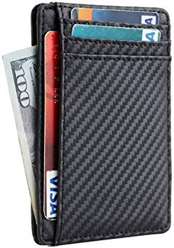 RFID Blocking Sleeves Front Pocket Leather Wallet for Women, RFID Safe Sleeve Mini Card Holder with Zipper and ID Window, Genuine Leather Durable Slim Convenient Wallets, Stopping RFID Scans Protectif P-1-2