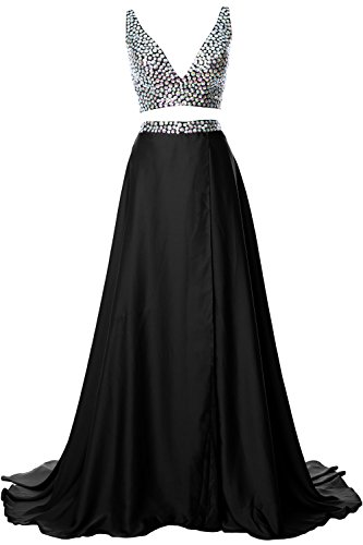Formal Party Evening Straps Long Piece 2 MACloth Prom Gown Schwarz Gorgeous V Neck Dress nvqYaPSzw