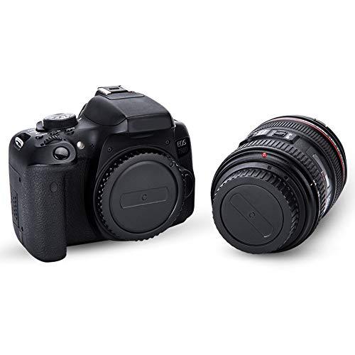 2 Pack JJC Body Cap Cover and Rear Lens Cap Kit for Canon EOS Rebel T6 T7 T5 T4i T5i T6i T6s T7i T8i SL1 SL2 SL3 60D 70D…