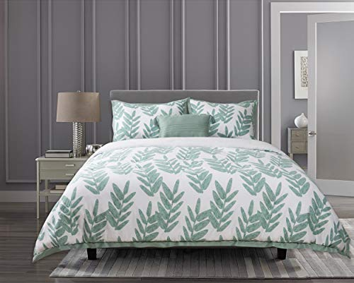 GS Home Fashions Suite Retreat 4 Piece Mila Comforter Set 100% Cotton, F/Q Size, 1 Comforter, 2 Shams and 1 Pillow