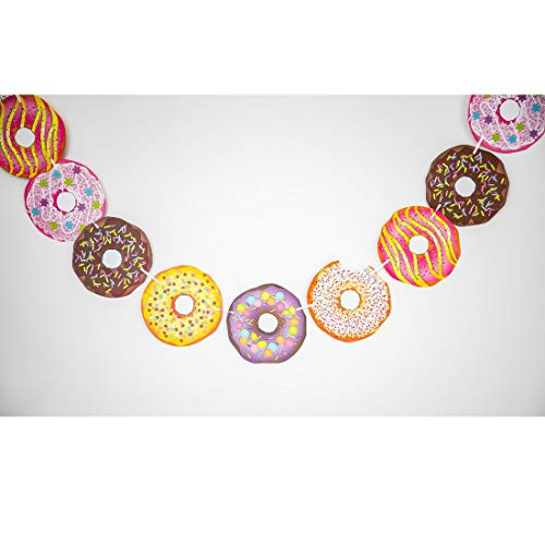 - Bobee Donut Banner Double-Sided Pre Strung on White Ribbon, 12 qty Doughnuts 7 inches each