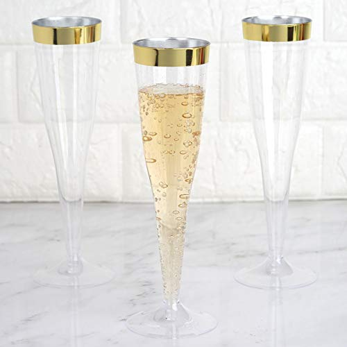 BalsaCircle 24 pcs 6 oz Clear with Gold Rim Plastic Champagne Flutes Glasses - Disposable Wedding Party Catering Tableware