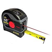 General Tools LTM2X Laser Tape Measure 2-in-1, 65 Ft Laser Measure And 16 Ft Tape Measure with Large, Easy to Read Backlit Digital Display