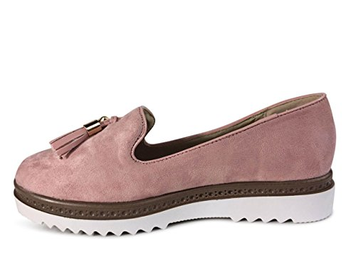 Schuhtraum Damen Slipper Plateau Sneakers Ballerinas Glitzer Nieten ST551  Rosa Quaste-N ... dc385185e0