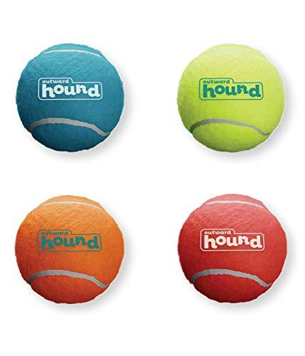 Outward Hound Squeaker Ballz Squeaky Tennis Balls Medium Size 4pk
