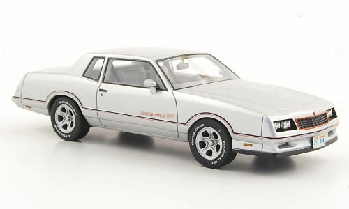 Neo Scale Models (Chevrolet Monte Carlo SS, silver, limited Edition 500, 1986, Model Car, Ready-made, American Excellence / Neo 1:43)