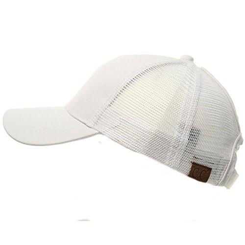 C.C Ponytail Messy Buns Trucker Ponycaps Plain Baseball Visor Cap Dad Hat White -