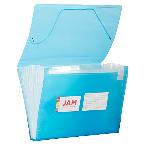 JAM PAPER Accordion Folders - 13 Pocket Plastic Expanding File - Letter Size - 9 x 13 - Blue Grid - Sold Individually