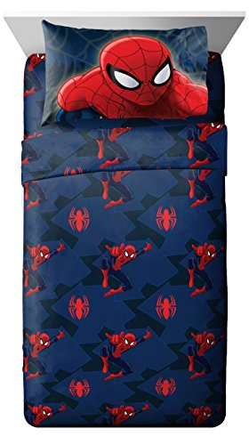 Jay Franco Marvel Spiderman Microfiber 4 Piece Full Sheet Set, Supreme (Spiderman Sheets For Queen Bed)