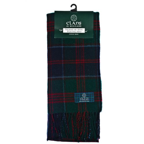 Clans Of Scotland Pure New Wool Scottish Tartan Scarf Stewart Of Appin Hunting (One Size)