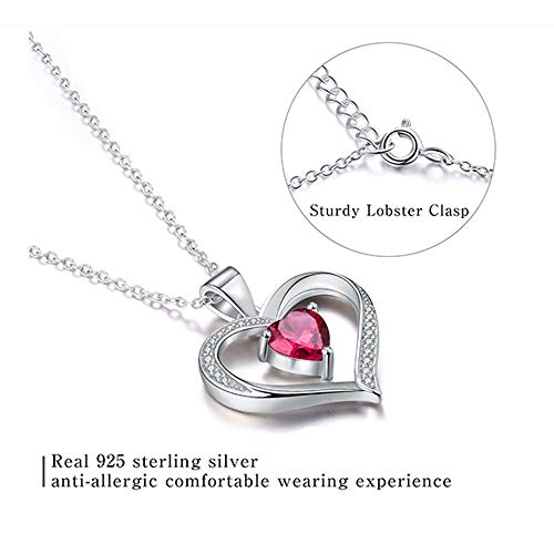 Happy Camp Forever Love Heart Women Necklace 925 Sterling Silver Birthstone Pendant Necklaces for Women with 925 Sterling Silver Chain and 5A Cubic Zirconia Jewelry for Women 18\'\' (Sliver-01-Jan.)