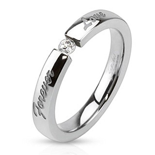 ved Stainless Steel Band Ring with 3mm Tension set CZ (Engraved Tension Set Ring)