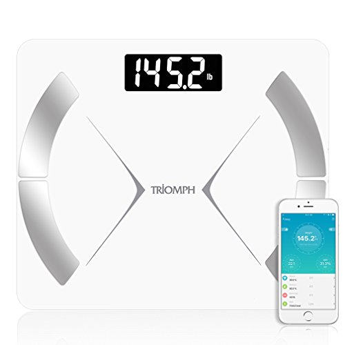 Triomph Bluetooth Smart Body Fat Scale with iOS/Android App - Digital Body Composition Analyzer Measures Body Weight, Body Fat, Water, Muscle Mass, BMR, Bone Mass and Visceral Fat, 400 lbs, White