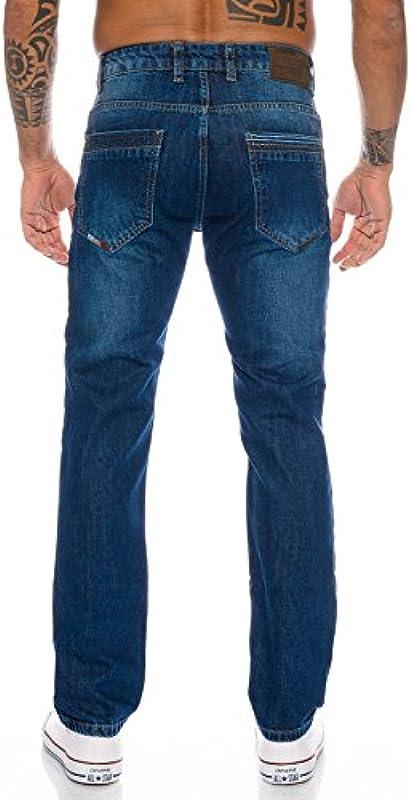 Lorenzo Loren Męskie dżinsy dżinsy dżinsowe Used-Look Regular-Fit W29-W44 L30-L38: Odzież