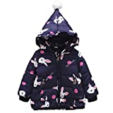 Baby Toddler Winter Cotton Outwear Thick Warm Rabbit Clothes Autumn Hooded Coat Girls Cloak Jacket (0-12 Months, Dark Blue)