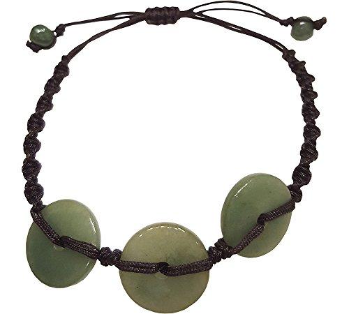 Infinity Green Coin Jade Bead Bracelets Feng Shui for Men, Women ()