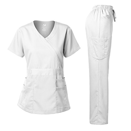 - Women's Scrubs Set Stretch Ultra Soft Y-Neck Wrap Top and Pants White XS