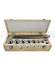Accusize Industrial Tools No.10 Standard H.S.S. Keyway Broach Set, 18 Pcs/Set, 1/8'', 3/16'', 1/4'' and 3/8'' Keyway, Style B and C, 5100-0010