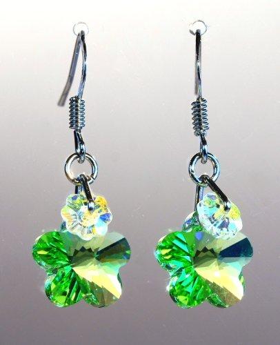 Swarovski Crystal Double Flower Dangle Hook Earring Rodium -Peridot 12mm