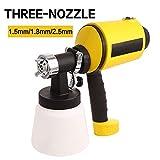 Hosmat Advanced Electric Spray Gun Home Paint Sprayer HVLP Sprayer with Three Spray Patterns Three Copper Nozzle Sizes 900ml Detachable Container Volume Regulator 6.5ft Power Line (Yellow)