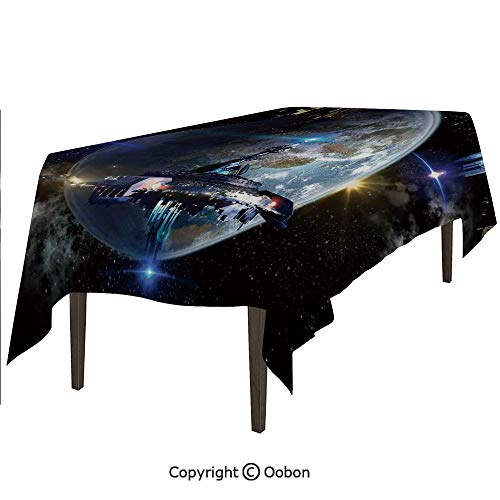 Space Decorations Tablecloth, Alien Ship Fleet Close to Earth Invasion of World Outer Space Galaxy Artwork, Rectangular Table Cover for Dining Room Kitchen, W90xL132 inch