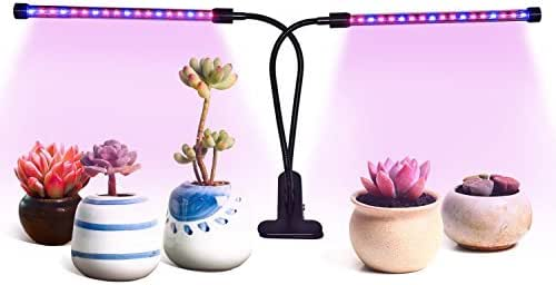 Sobotoo Grow Light Dual Head Grow Lamp 36 LEDs with Red/Blue 5 Dimmable Levels,3 Modes Timing Function (3H/6H/12H) for Indoor Plants Garden Tent Herbs Pott (Grow Lamp)