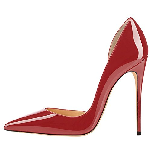 Pumps Heel Slip Toe Shoes Womens Lovirs On Plus Wedding Party Sexy Stiletto Size High Red Pointed Wine xHzCwSqFX