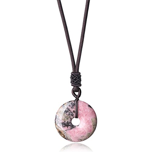 AmorWing Reiki Healing Natural Stones Black Veins Rhodonite Round Donut Pendant Necklace