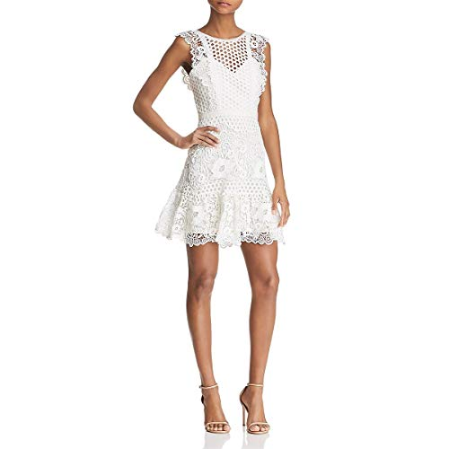 BCBG Max Azria Womens Lace Cut-Out Mini Dress Ivory 0