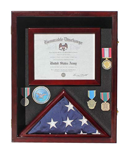 Military Shadow Box 3'X5' Flag Display Case, with Certificate Frame (Mahogany) - Flag Certificate Display Case