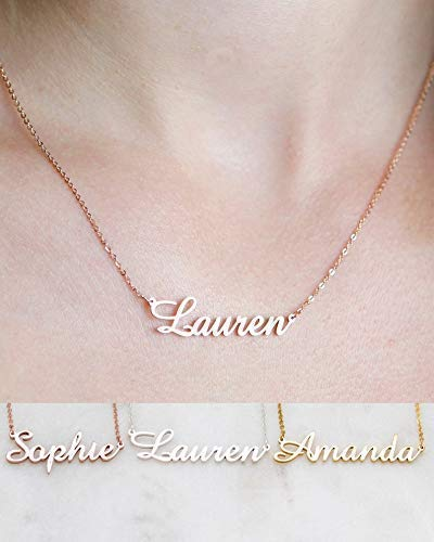 Name Necklace Personalized, Sterling Silver Custom Nameplate Pendent Dainty Jewelry Gift for Women, Bridesmaid