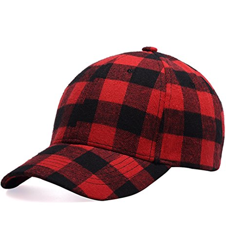 Clecibor Black and Red Checked Print Baseball Cap Soft Plaid Print Outdoor Hat Cap