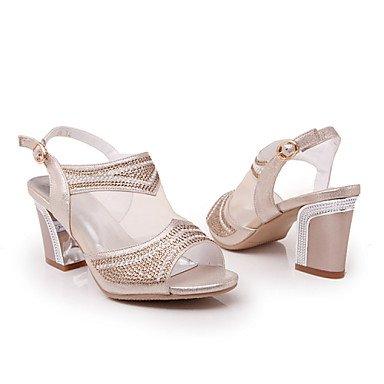 LvYuan Mujer-Tacón Robusto-Otro Confort Innovador Talón Descubierto Gladiador Tira en el Tobillo Zapatos del club-Sandalias-Boda Oficina y Gold