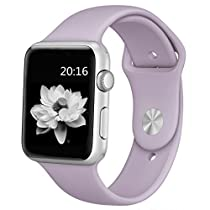 top4cus Apple Watch Band 38mm Soft Silicone Replacement Sport Strap iWatch Band for Apple Watch 38mm Model - Small/Medium - Lavender