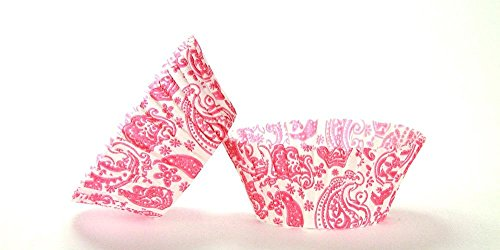 50pc Paisley Design Pink Standard Size Cupcake Baking Cups Liners Wrappers ()