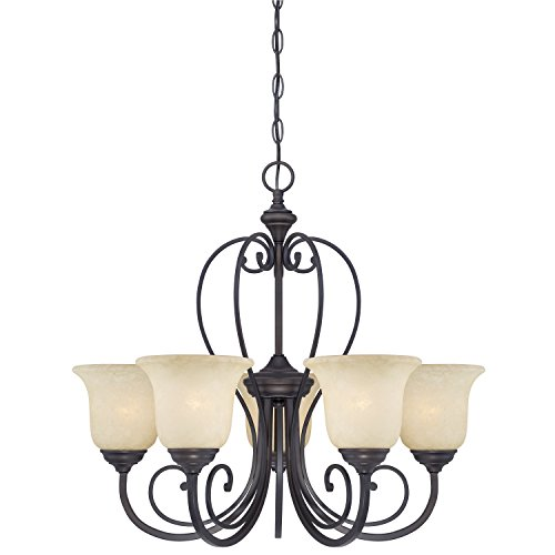 Westinghouse 6340700 Callan Five Light Indoor Chandelier Oil Rubbed Bronze Finish With Caramel Scavo Glass