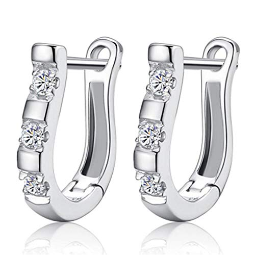 925 Sterling Silver Earrings Harp Zircon Studs Horse Shoe Earrings For ()