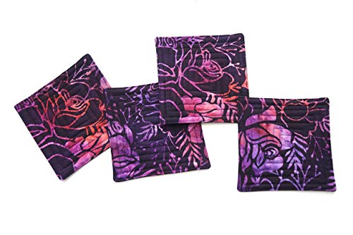 (Batik Quilted Coasters Set in Shades of Purple and Pink)