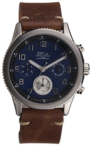 Louis Blues Heart Watch (Daniel Steiger Olympia Blue Steel Watch - Solid Stainless Steel Case - Precision Quartz Movement Featuring Day, Date & 24-Hour Features - 100M Water Resistant)