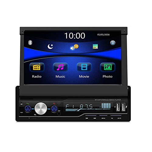 Regetek Single Din Car Stereo 7 inch Bluetooth Car Audio Video Player RDS FM AM Car Radio Player USB/AUX/TF HD Telescopic Retractable Capacitive Touch Screen