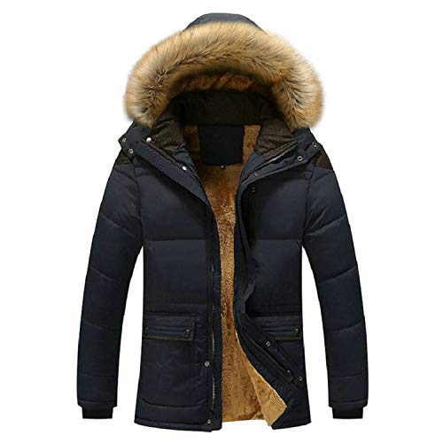 Men Parka Warm Winter Jacket Man Fleece Thick Hooded Fur Collar Winter Coats Windbr,Khaki,S