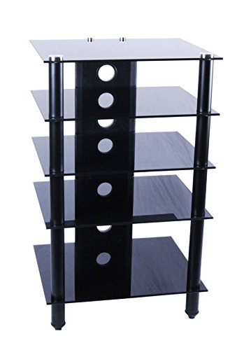 Tier One Designs Black Glass and Aluminum Component Audio (Corner Media Storage)