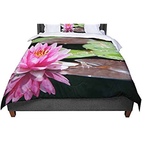 KESS InHouse Angie Turner Water Lily Green Pink Twin Comforter 68 X 88